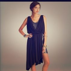 Free People Eleanor Drape Dress Gorgeous wrap dress. Gold threading, black cotton fabric. A few snags, worn once. Free People Dresses