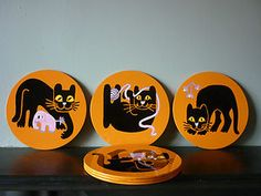 6X Vintage Mid Century Worcester Carlton Ware Boxed Stylised Black Cat Placemats | eBay