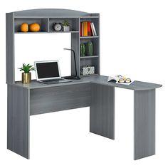 Computer Desk With Hutch, Desk Hutch, Corner Desk With Hutch, Modern L Shaped Desk, Office Depot Desks, Campaign Desk, Desk Essentials, Grey Laminate, Privacy Panels