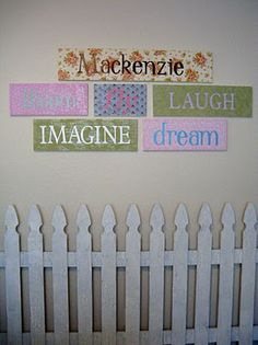 Girl's Garden Room {Word Plaques & White Picket Fence} Tutorial