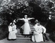 'Kiss in the Park' - the pair on the right is Nicholas and Alexandra, the young lady between the pairs is Olga Alexandrovna (sister of Nicholas)