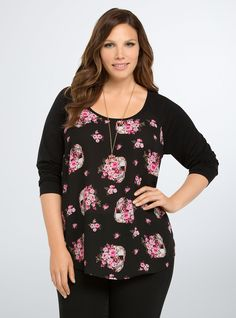 "<p>We're knocking it out of the park with this baseball tee (just sayin'). An elevated take on the sporty style, tee-like black raglan sleeves keep it in the comfort zone, while black chiffon splashed with a bright pink floral and skull pattern raise your average to MVP.</p>  <p> </p>  <p><b>Model is 5'9.5"", size 1</b></p>  <ul> 	<li>Size 1 measures 29 1/4"" from shoulder</li> 	<li>Polyester/rayon/spandex</li> 	<li>Wash cold, dry flat</li> 	<li>Imported plus size tee</l..."
