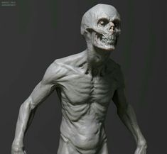 skeletal face malnourished body creates a zombie effect * ribs *arms Zbrush, Creature Feature, Creature Design, Anatomy Reference, Art Reference, Zombies, Character Inspiration, Character Art, Anatomy Sculpture