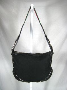 "AUTHENTIC GUCCI Black Monogram ""Pelham"" Canvas Leather Studded Shoulder Handbag #Gucci #ShoulderBag"