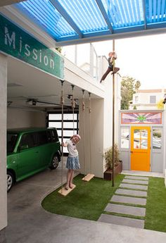 Carport with Swings & Fire Pole - contemporary - garage and shed - san francisco - Jeff King & Company