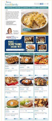 the Kraft Foods weekly recipe email has great ideas!http://www.kraftrecipes.com/Registration/rbe.aspx?promo_id=PINUSRBE0612