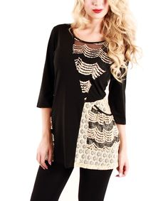 Black & White Scallop Lace Scoop Neck Tunic