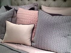 Charcoal gray plus blush pink (the newest neutral) plus nubby textures = heaven!  I want to curl up in this gorgeous bedding by Peacock Alley!  The Veneto herringbone pattern experiments with the trend toward menswear textiles, while the Marbella sweater knit and pale color add softness.  It's a perfect masculine-feminine mix!  You know, for when the boy/girl twins snug up in your bed.    CODARUS (IHFC H223) (www.codarus.com) #HPMkt