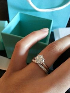 Like this idea but a smaller solitaire diamond on the engagement ring #weddingrings #diamondsolitairerings