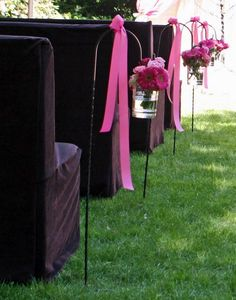 Pink & Black Chair & Aisle Decorations