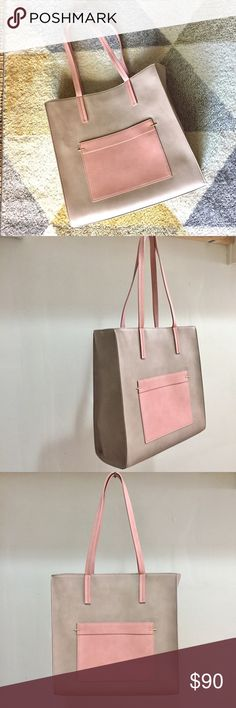 Minimal style tote bag 100 % leather tote with hug space! Minimalist design with great color for summer ! Danielle Nicole Bags Totes