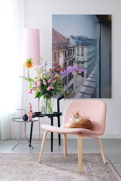 Detalhes rosa na decoração; sala de estar