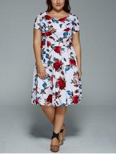 GET $50 NOW | Join RoseGal: Get YOUR $50 NOW!http://www.rosegal.com/plus-size-dresses/plus-size-v-neck-floral-653203.html?seid=8096416rg653203