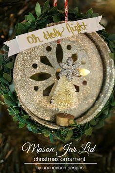 Create a precious Mason Jar Lid Christmas Ornametn via Uncommon Designs. Includes a sweet vintage bottle brush tree and glitter.