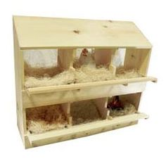 Wood Poultry Laying Nest Box - 6 Holes - Wood, Pine - Hen Chicken Nesting Laying Box
