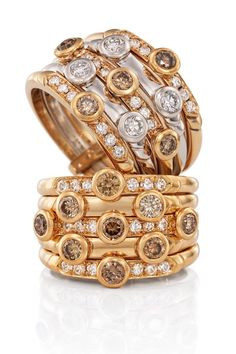 Rosendorff 'Honey Collection' Cocktail Rings featuring Brilliant Cognac and White Diamonds