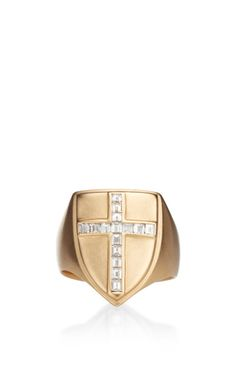 Shield Ring With Champagne Diamonds by Me & Ro - Moda Operandi