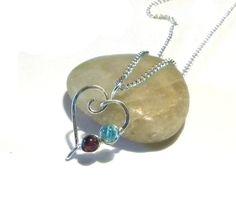 Unique heart - Brithstone mother's pendant!