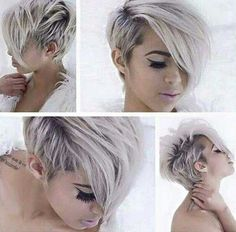 Snow white hair color and adorable short haircut and hairstyle Haircut For Thick Hair, Haircut And Color, Pixie Cut Styles, Short Hair Styles, Pixie Cuts, Love Hair, Great Hair, Pixie Hairstyles, Pretty Hairstyles