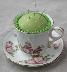 Pretty Teacup Pincushions - Learn more about this project and more on the Connecting Threads blog.