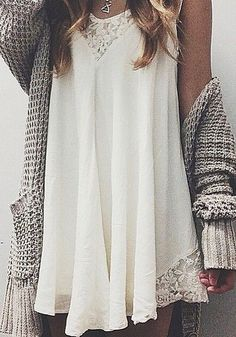 lace dress & chunky cardigan