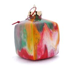Handmade Glass Cube Ornament Painted Inside OOAK by creationsbyjdb, $20.00
