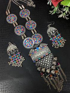 Afghani Jewelery,boho gypsy necklace,tribal jewelry, German Silver,glass stone studded necklace and earrings combo set Tribal Jewelry, Jewelry Art, Antique Jewelry, Silver Jewelry, Silver Ring, Silver Earrings, Oxidised Jewellery, Jewelry Patterns, Necklace Designs