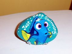 Dory Just Keep Swimming Hand painted River Rock by aquietplace
