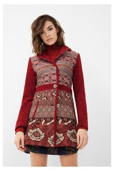 Soft red ethnic coat Natalia Discover the fall-winter 2016 collection! dc74d1899b