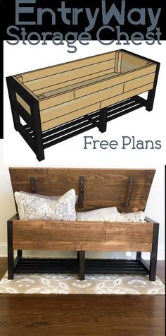 Plans of Woodworking Diy Projects - Entry Way Storage Bench - Woodworking Plans - Home Get A Lifetime Of Project Ideas & Inspiration! #furnitureplans
