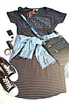 What to wear to Disney. Perfect for Hollywood Studios o - Star Wars Tshirt - Trending and Latest Star Wars Shirts - What to wear to Disney. Perfect for Hollywood Studios or any of the parks! Disney World Outfits, Disneyland Outfits, Disney Inspired Outfits, Disney Style, Disney Fashion, Disneyland Ideas, Disney Ideas, Mom Outfits, Summer Outfits