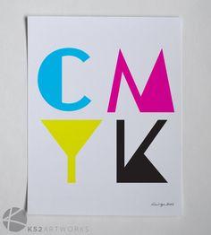 CMYK (cyan, magenta, yellow & black) typography print 8 X 10 by K52Artworks on Etsy