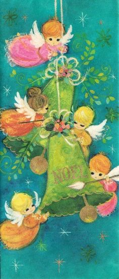 MCM Angels Christmas Card ~ Orange Accents