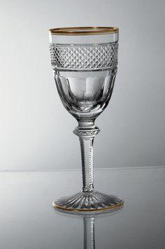 gold rim wine glasses|lead crystal|Cristallerie de Montbronn|hand cut
