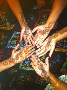Henna hand flower