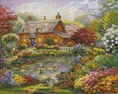 Artecy Cross Stitch. Summer Cottage Cross Stitch Pattern to print online.