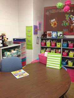 Miss Kindergarten: Classroom Decor Pins Linky Party! Owl Classroom, Classroom Layout, Classroom Organisation, Classroom Setting, Teacher Organization, Classroom Design, School Classroom, Classroom Decor, Future Classroom