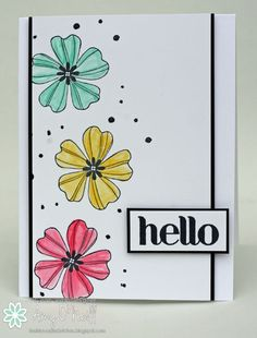 handmade greeting card ... Flower Shop ... clean and graphic look ..