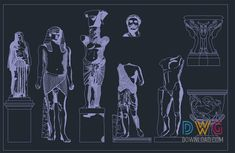 Stone Statues Dwg » DwgDownload.Com Stone Statues, Cad Blocks, Free, Fictional Characters, Fantasy Characters