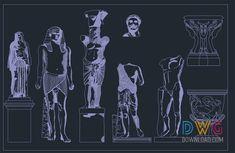 Stone Statues Dwg » DwgDownload.Com Stone Statues, Cad Blocks, Free, Fictional Characters