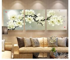 Online Cheap Wall Art Set Modern Picture Abstract Oil Painting Wall Decor Canvas Pictures For Living Room White Magnolia By Zhizihuakai Flower Painting Canvas, Oil Painting Flowers, Flower Canvas, Oil Painting Abstract, Abstract Flowers, 3 Piece Wall Art, Wall Art Sets, Canvas Wall Art, Living Room White