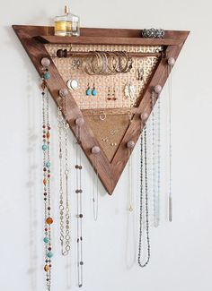Perfect Jewelry Organizer Wall Mounted Ideas Triangle Jewelry Organizer Wooden Wall Hanging Jewelry Etsy with regard to [keyword Hanging Jewelry Organizer, Diy Jewelry Holder, Jewelry Hanger, Jewelry Wall Organizers, Diy Necklace Holder, Jewelry Box, Jewelry Armoire, Hang Jewelry On Wall, Diy Earrings