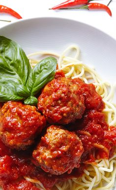 The best Spicy Spaghetti and Meatballs recipe. #BiteMeMore