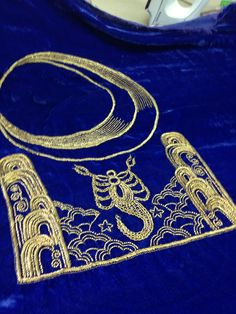 Zardozi Embroidery in antique gold... Interpretation of the moon and the sea