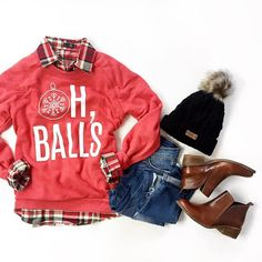 Oh, balls. / The greatest Christmas sweater I've ever seen. Prep Style, My Style, Christmas Slogans, Outfits Otoño, Christmas Sweaters, Christmas Time, Xmas, Fall Winter Outfits, Dress Me Up
