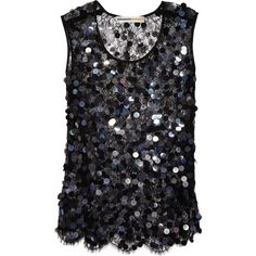 Clements Ribeiro Sequined cobweb lace tank (£295) ❤ liked on Polyvore featuring tops, tanks, tank tops, shirts, blusas, black, loose tops, sequined shirt, lace tank and lace shirt