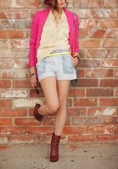 Neon pink blazer + light blue shorts + cream top + Rebecca Minkoff crossbody + Lanvin booties