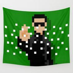Neo from the Matrix stopping the bullet minimal 8bit wall tapestry on society6 by 8bitbaba. #neo #matrix #hollywood #moviescene #pixelart #8bitart #8bitbaba #keanureaves