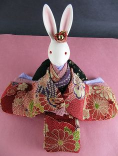 Japaneses toys/ bunny in kimono. I have one of these and it is musical, very sweet
