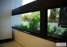 O fechamento de vidro fixo como complemento do peitoril da janela proporciona segurança aos usuários e possibilitai o acompanhamento do crescimento dos temperinhos! Projeto by Basi Arquitetura.